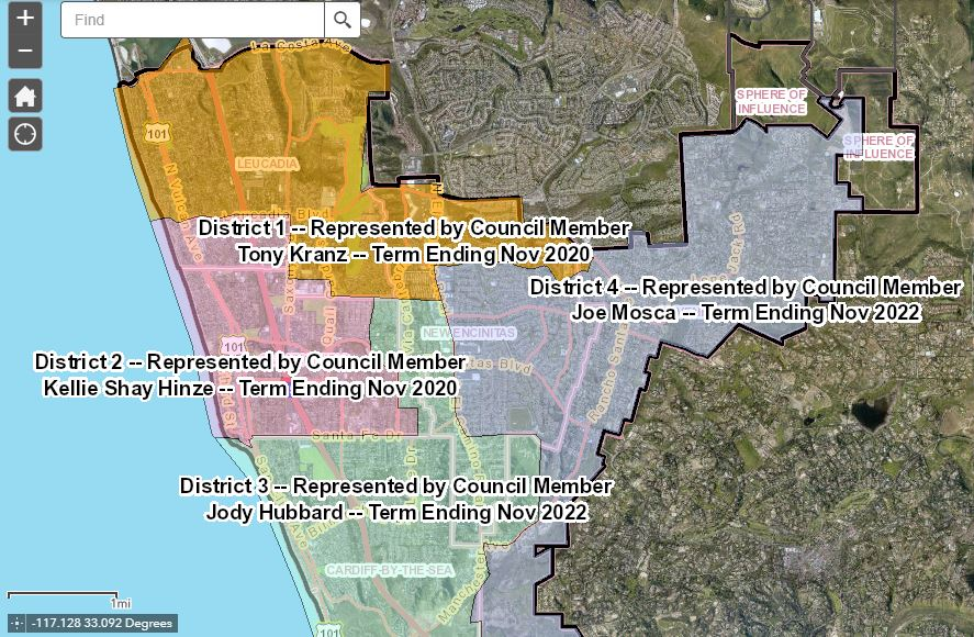 Encinitas Voting Districts map